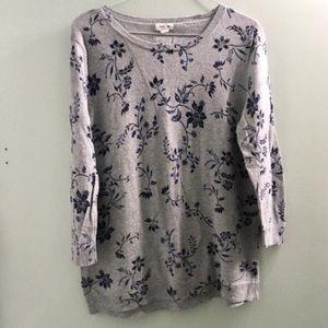 Westport Gray Floral Print Long Sleeve Top